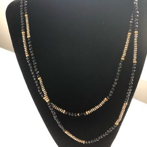 Jewelry - Black and Silver Beaded Long Necklace